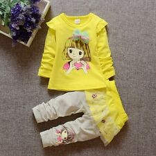 baby Girls clothes cotton spring outfits Top+pants baby sweet girl 12-18  M