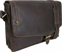 "UNICORN Real Leather 16.4"" laptop bag Netbook Ultrabook Messenger Brown #8K"