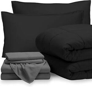7 Piece Bed-In-A-Bag Down Alternative Comforter & Sheet Bedding Set QUEEN BK/GR