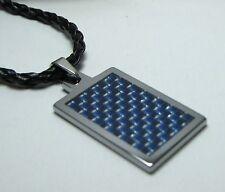 """Men Tungsten Blue Carbon Fiber Pendant / 3mm Black Leather Necklace cord 20"""""""