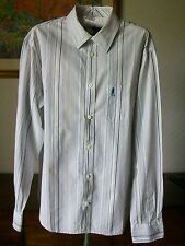 """French Connection Long Sleeve Striped Cotton Shirt, Size Large, 16.5"""" Collar"""
