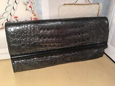 Nancy Gonzalez Silver/Black Metalic Crocodile Clutch Handbag