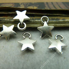 30pc 2-Sided Charms Star Pentagram Pendant Beads Findings Tibetan Silver S520T