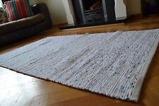 Blanc Pastel Chindi Tapis Fait À La Main Recyclé Coton 150x210cm 5x7 Ourlé