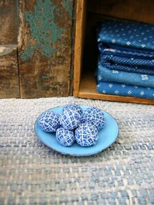 Tiny Rag Balls made fr Vintage Blue Calico on Antique Blue Enamelware Doll Plate
