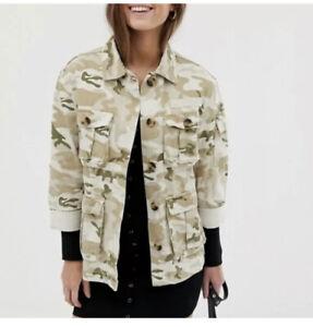 Bershka Denim Multicolor Camo Safari Jacket Size S