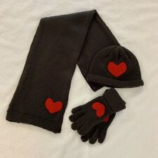 525 AMERICA Gray, Red Heart Hat, Gloves and Scarf Set EUC