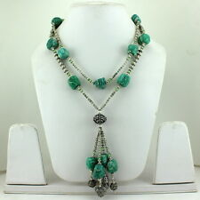 Necklace natural green amazonite gemstone beaded handmade fashion jewellery 128g