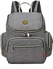 Aidonger Diaper Bag Backpack with Clips Large Capacity Fit Stroller Gray