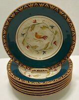 7 Fitz and Floyd Global Market Blue Floral Embossed Bird Soup or Pasta Bowl  10""