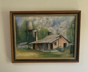 """Unknown Artist Original Acrylic on Board """"Untitled"""" Pink House with Water Tank"""