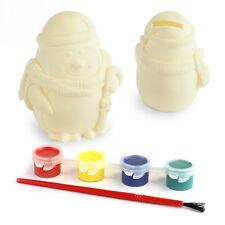 Cute Paint Your Own Penguin Coins Box Piggy Bank Storage Saving Money Kids Gift