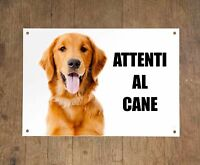 GOLDEN RETRIEVER attenti al cane mod 2 TARGA cartello IN METALLO