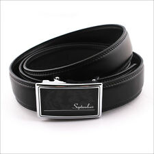 Septwolves Men Belt Real Genuine Leather Auto Lock Buckle Cow Black 1055510-A