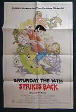 SATURDAY THE 14TH STRIKES BACK 1988 ORIGINAL 1 SHEET MOVIE POSTER RAY WALSTON