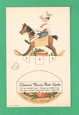 "VINTAGE GIBSON ART NOVELTY CUT-OUT ""MOVIE"" CHRISTMAS POSTCARD BOY ROCKING HORSE"