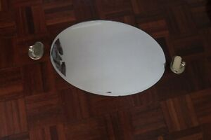 45 x 30cm oval bathroom vintage traditional mirror with gold holders