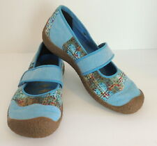 KEEN 7 Mary Jane Shoes Harvest Swedish Blue Chambray Floral Canvas