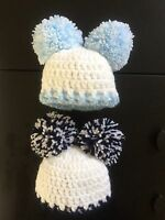 Hand Crochet Baby Bobble Hat Pom Pom 0-3 Months Wool Navy Blue & Pale Blue  Boy