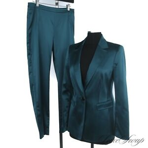INTENSE Ledonne Dimariella Burani Italy Teal Peacock Satin 2pc Pant Suit 15 NR