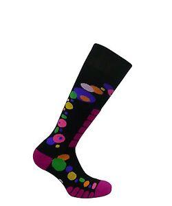 Women's Free Style Silver Ski Snowboard Winter Socks, Black,  Pink Medium 8-10