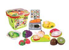 Kaufladen-Spielset Einkaufskorb Waage Lebensmittel Spielzeug Kaufmannsladen Set