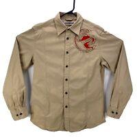 Express Precision Fit Long Sleeve Button Down Shirt Canvas Beige Men's Size M