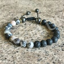 Black Lava Stone & Grey Jasper Netstone Essential Oil Diffuser Bead Bracelet