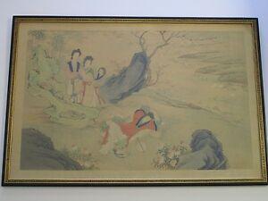 VINTAGE-ANTIQUE CHINESE FRAMED SCROLL PAINTING FIGURES LANDSCAPE LARGE SIZE
