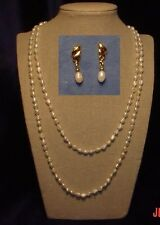 """24"""") + 1 pair matching earrings Two Fresh-water pearl necklaces (18"""" &"""