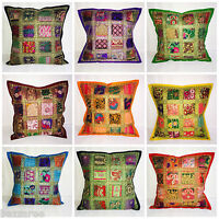 Indian Patchwork Sari Ethnic Vintage Cushion Cover Covers 40x40 16x16 Tapestry