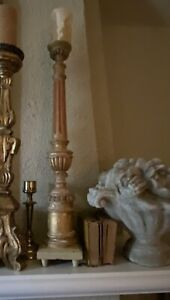 Antique French Gilded Wood Church Alter Candlestick
