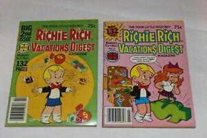 2 Harvey World 1978 1979 #2 #3 RICHIE RICH VACATIONS DIGEST MAGAZINE VG+/EX