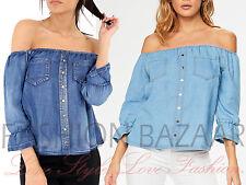 Womens Denim Bardot Off Shoulder Gypsy Top Bell Frill Sleeve Summer Holiday Top