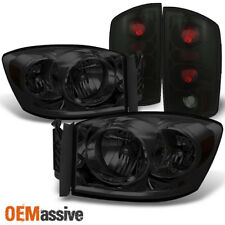 Fit 2006 Dodge Ram Pickup Truck Smoke Headlights Pair+Black Smoked Tail Lights