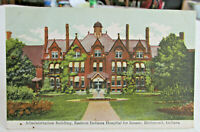 1912 RICHMOND INDIANA POSTCARD of Adm.Building Hospital for INSANE Richmond In.