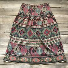 Peruvian Connection 100% Pima Cotton XL Aztec Print Midi Skirt Peru Coral Teal