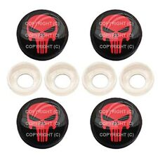 4 Black License Plate Frame Tag Screw Snap Cap Covers - PUNISHER SKULL BC064