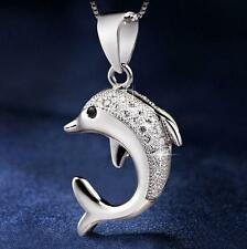 925 Sterling Silver Dolphin Pendant Necklace Fashion Jewelry Valentine Gift