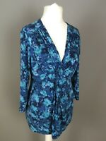 East blue turquoise tie dye abstract casual faux wrap knot stretch top size s