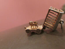 VINTAGE SILVER BRACELET CHARM CIRCUS CAGE OPENS TO A LION