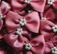 10 x DUSKY PINK 3.5cm Satin Ready Made Mini Ribbon & Pearl Craft Bows Bow Ties