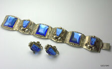 Sterling Silver Taxco Blue Carved Glass Aztec Face Bracelet Matching Earrings