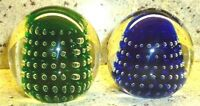 2 VINTAGE TITAN CONTROLLED BUBBLE GREEN & BLUE SIGNED ART GLASS PAPERWEIGHT 1995