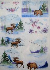 Rice Paper for Decoupage Scrapbook Craft Wild Animals Winter Landscape 241