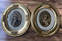Vintage George Washington Print With Wife Martha In Gilded Frames Early 1800s