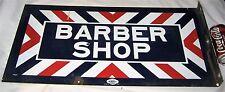 ANTIQUE USA DBL MARVY PORCELAIN STEEL BARBER SHOP PATRIOTIC HAIR SHAVE ART SIGN