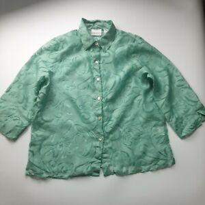 Vintage 90s Women Blouse Shirt Top Collar Button Pink Sheer Floral Button 14 16