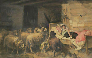 Monogrammed V ? - Girl IN Bed With Dog Surrounded From Sheep