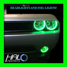 2008-2014 DODGE CHALLENGER GREEN LED HALO HEADLIGHT+FOG LIGHT KIT by ORACLE